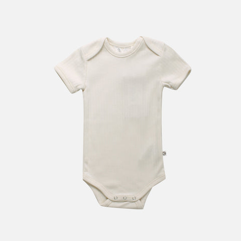 Organic Cotton Short Sleeve Rib Body - Cream - 0m-2y