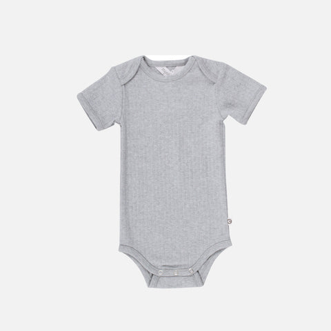 Organic Cotton Short Sleeve Body - Pale Grey - 0m-2y