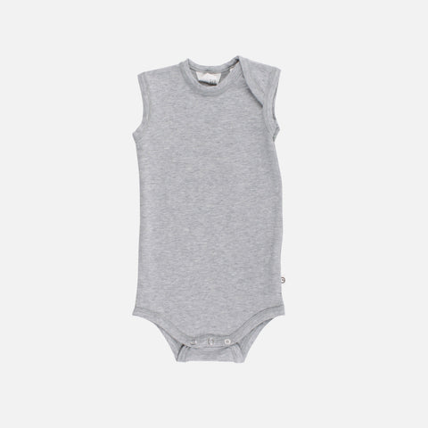 Organic Cotton Sleeveless Body - Pale Grey - 0m-2y
