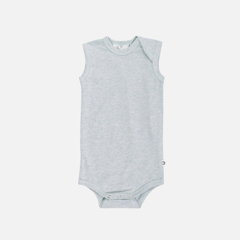 Organic Cotton Sleeveless Body - Mist Melange - 0m-2y