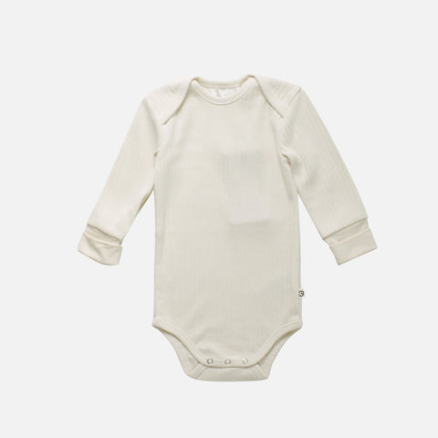 Cotton LS Rib Body - Cream - 0m-2y