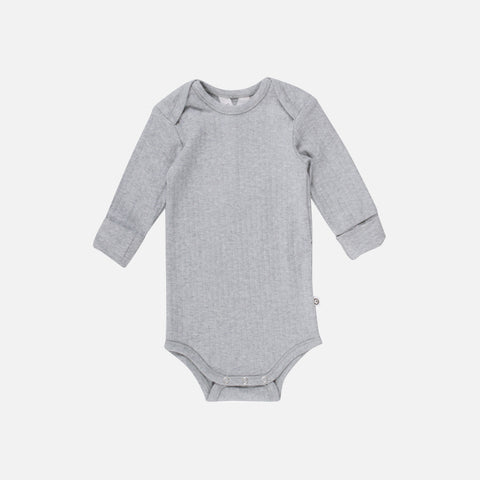 Organic Cotton LS Rib  Body - Pale Grey - 0m-2y