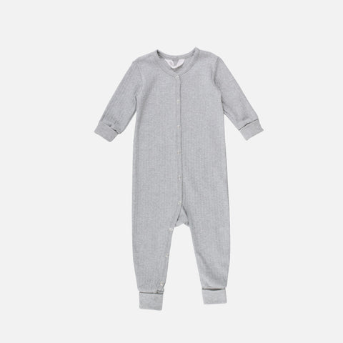 Organic Cotton Romper/Bodysuit - Pale Grey - 0-3y