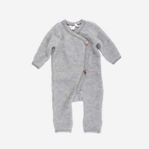 100% Organic Merino Wool Fleece Suit - Pale Grey - 0m-3y