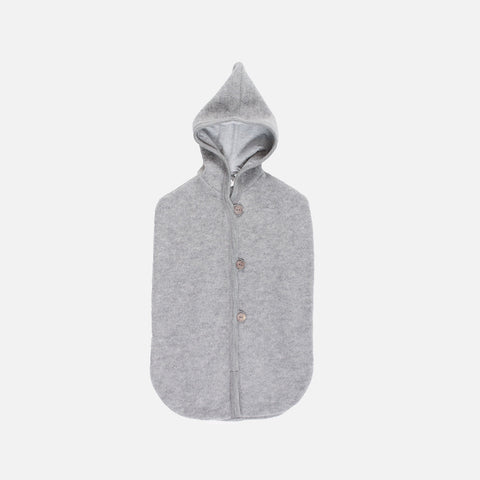 100% Organic Merino Wool Fleece Pram Cocoon - Pale Grey - 0-9m