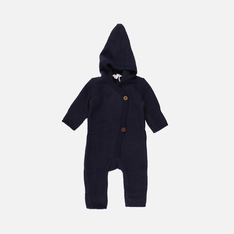 100% Organic Merino Wool Fleece Suit - Navy - 0m-3y