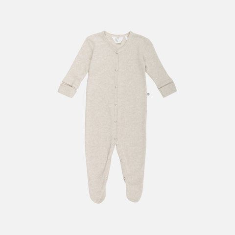 Organic Pointelle Cotton Romper/Suit with Feet - Beige - 0-18m