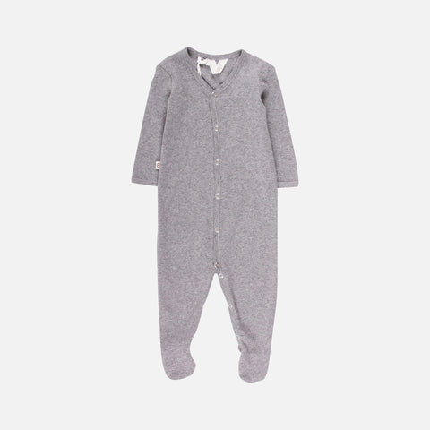 Organic Pointelle Cotton Romper/Suit with Feet - Pale Grey - 0-18m