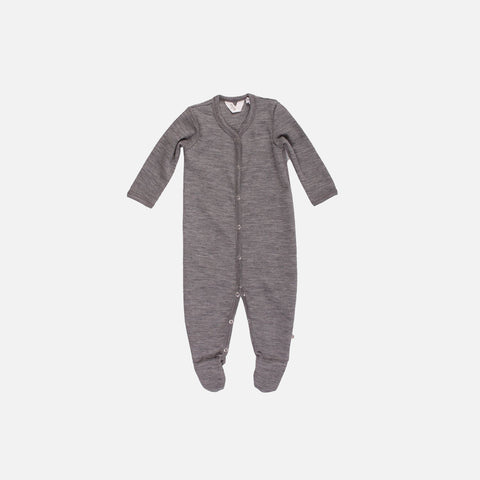 Merino Romper/Suit with Feet - Pale Grey - 0-18m