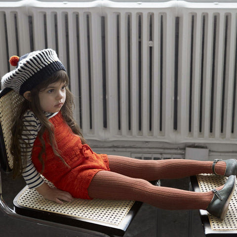 Hand Knit Merino Wool Pinetree Playsuit - Persimmon - 12m-3y