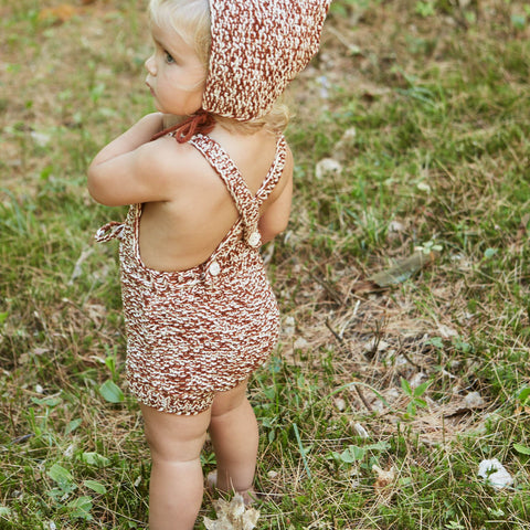Hand Knit Starfish Sunsuit - Natural/Terracotta - 2-4y