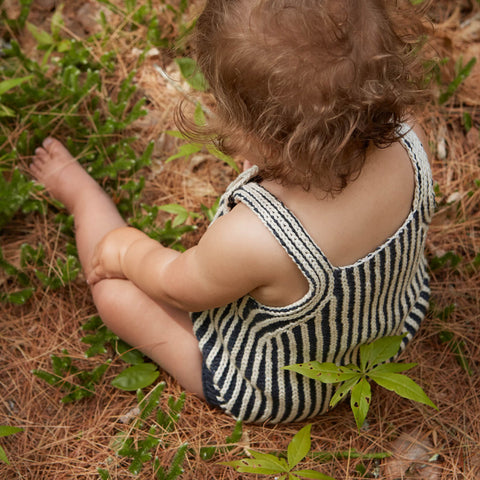 Hand Knit Plum Island Playsuit - Midnight/Natural - 6m-4y