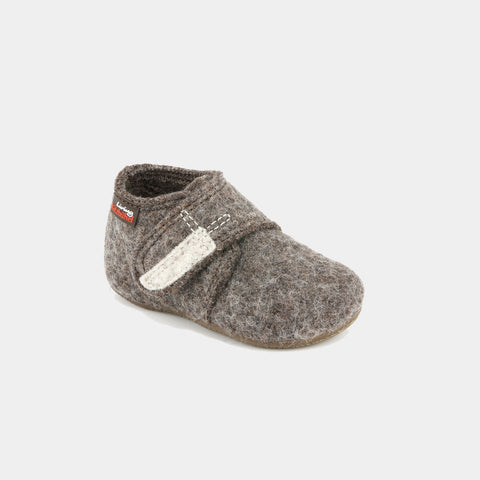 Wool Slipper Shoe - Brown Melange - 18-30 (UK 2-11.5)