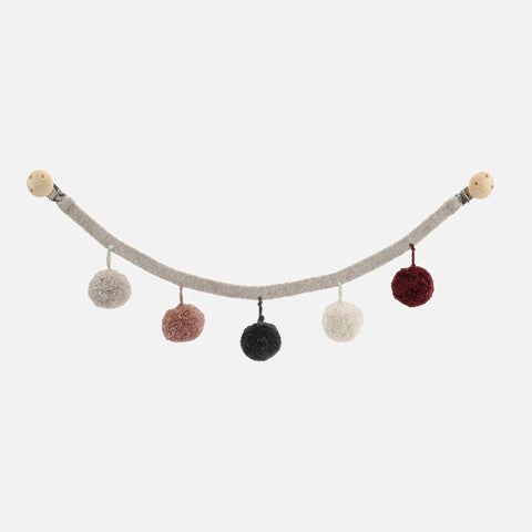 Wool/Organic Cotton PomPom Pram Chain - Red
