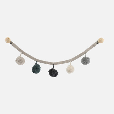 Wool/Organic Cotton PomPom Pram Chain - Grey