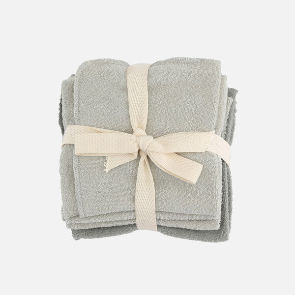 Organic Cotton Terry Wash cloths - Grey - 5 pack