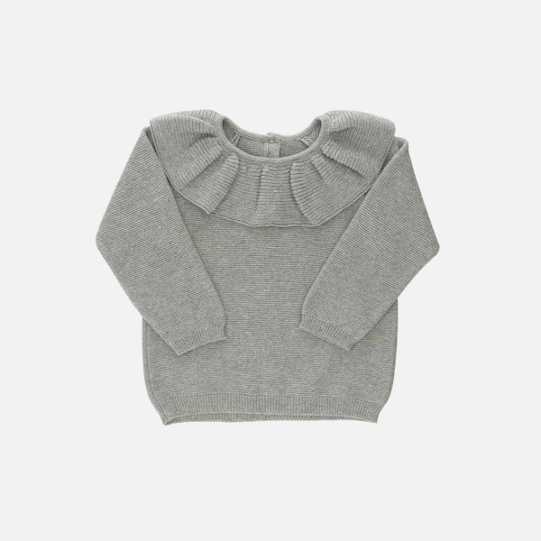 Organic Cotton Knit Collar Sweater - Grey Melange - 6m-7y