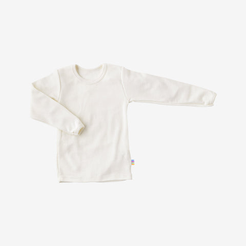 Merino/cotton long sleeve vest white 5y-12y