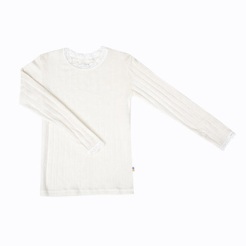 Merino wool/silk long sleeve top natural with lace