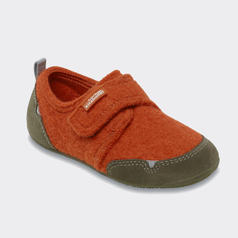 Velcro Wool Slipper - Lava Orange - size 26-34 (UK size 8-2)
