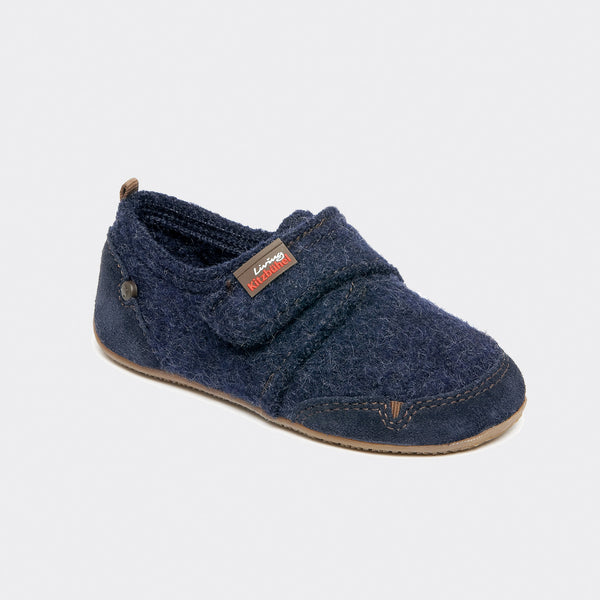 Velcro Wool Slipper Shoe Size - Navy- size 25-34 (UK size 8-2)