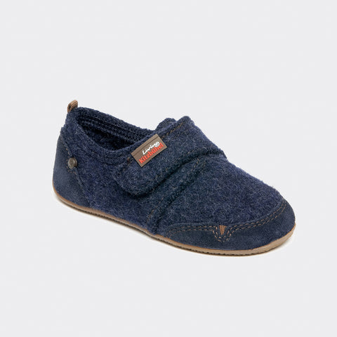 Velcro Wool Slipper Shoe Size - Navy