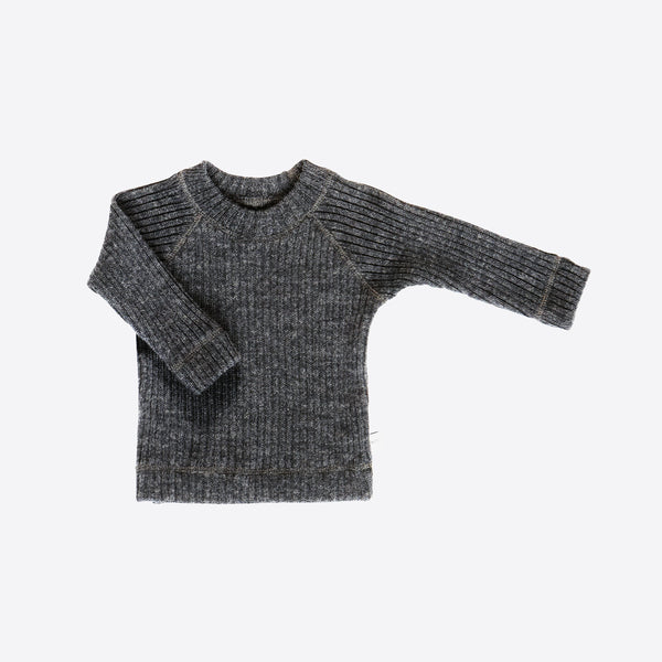Merino wool rib sweater charcoal 4m-4y
