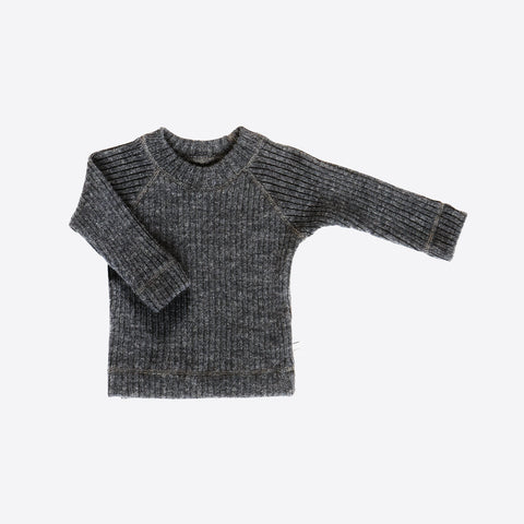 Merino Wool Rib Sweater - Charcoal