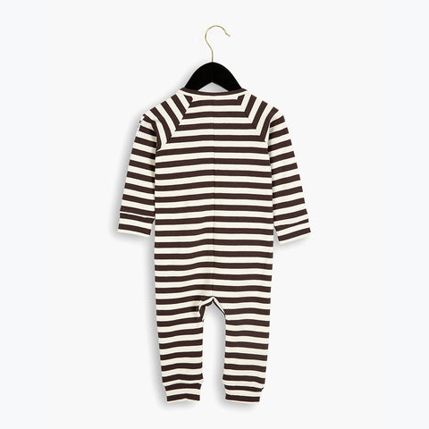 Organic Cotton Stripe Rib LL Body - Brown - 0-6m