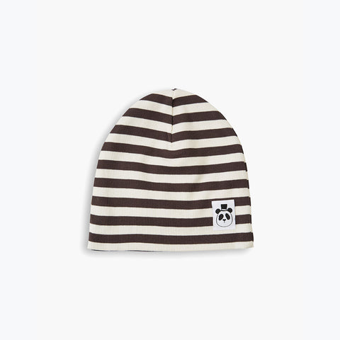 Organic Stripe Rib Beanie - Brown - 3-11y