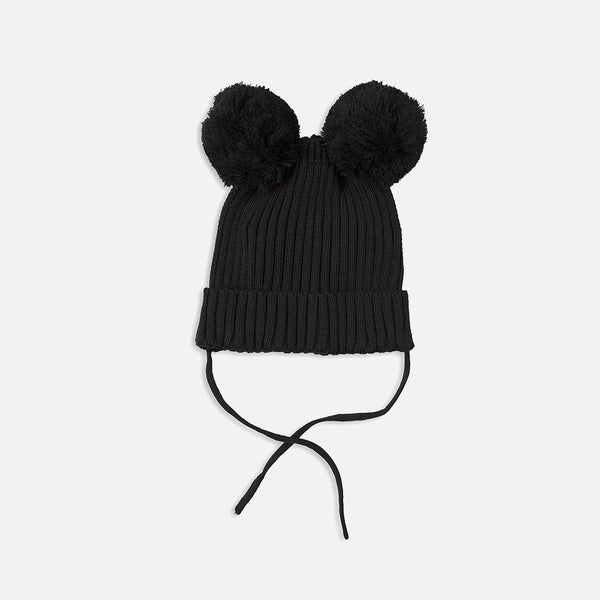 Organic Ear Hat - Black - 4m-9y