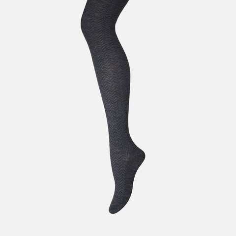 Wool Chevron Tights - Dark Grey - ADULT