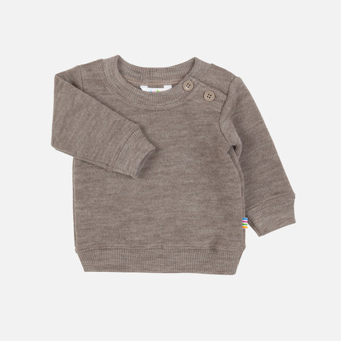 Merino Wool Fleece Lined Sweater - Sesame - 1-6y