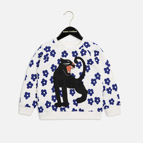 Organic Cotton Blossom Panther Sweatshirt - OffWhite - 1-9y