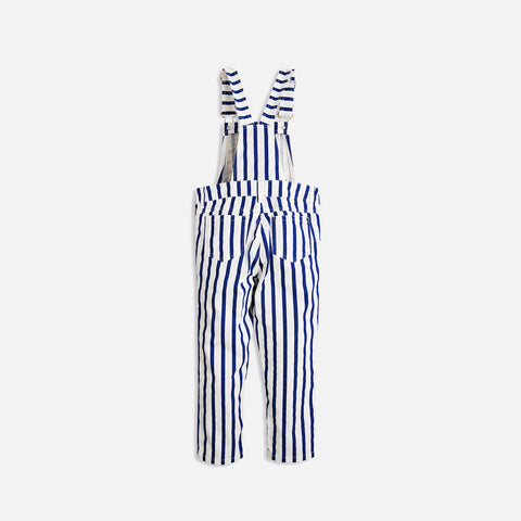 Organic Stripe Dungarees - Blue - 8-9y