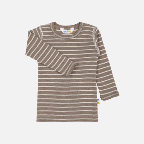 Merino Wool/Silk LS Top - Walnut Stripe - 1m-6y