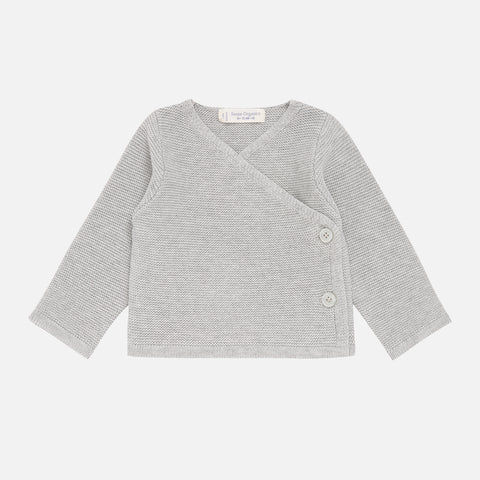 Organic Cotton Picasso Baby Wrap Jacket Top - Grey - 0-18m