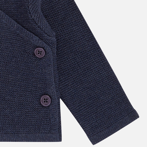 Organic Cotton Picasso Baby Wrap Jacket Top - Navy - 0-18m