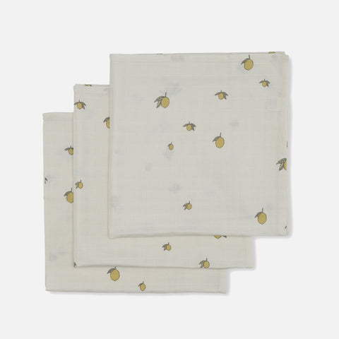 Organic Cotton Muslins - Lemon Print - Set of 3