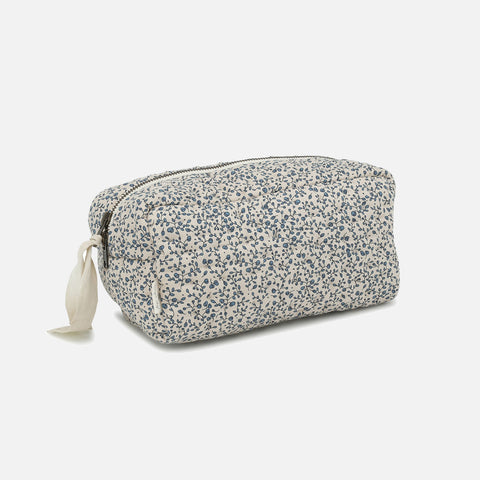 Organic Cotton Quilted Toiletry Bag - Blue Blossom Mist