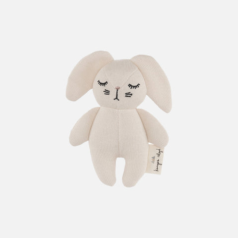 Cotton Mini Rattle Rabbit - Off White
