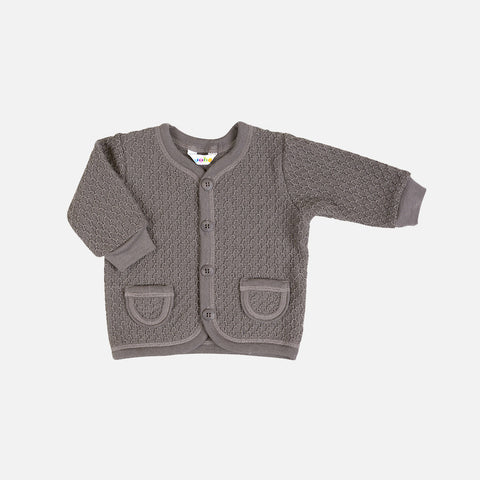Merino Wool Cardigan - Iron Brown - 1-6y