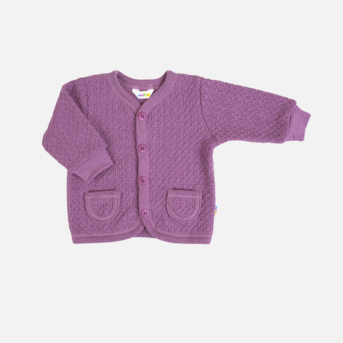 Merino Wool Cardigan - Grape - 1-6y