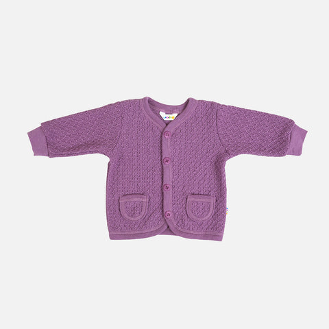 Merino Wool Cardigan - Grape - 1m-2y