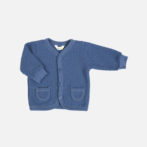 Merino Wool Cardigan - Blue - 1-6y