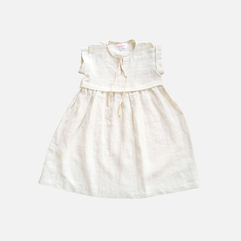 Linen Empire Dress - Off White - 2-10y