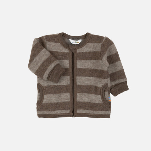 Merino Fleece Jacket - Walnut/Cocoa stripe - 6m-4y