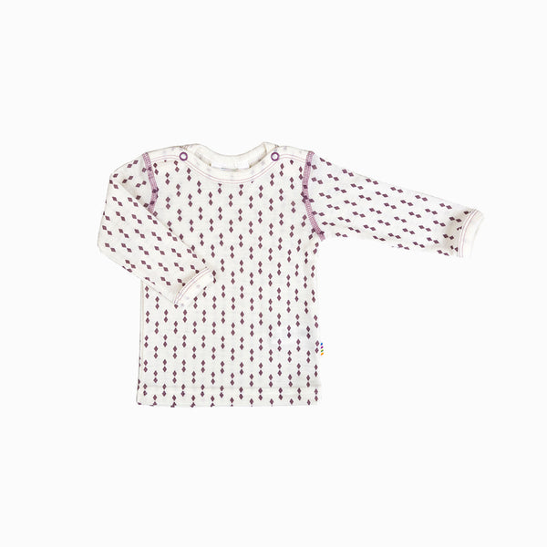Merino Wool Diamonds LS Top - Ecru/Rose - 9m-6y