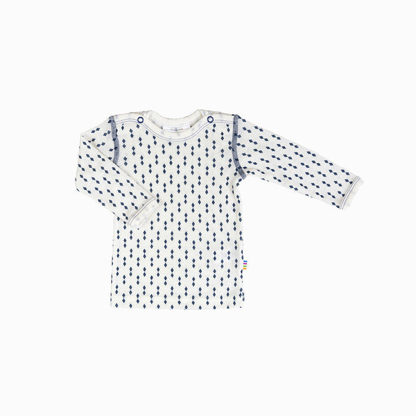 Merino Wool Diamonds LS Top - Ecru/Blue - 9m-6y