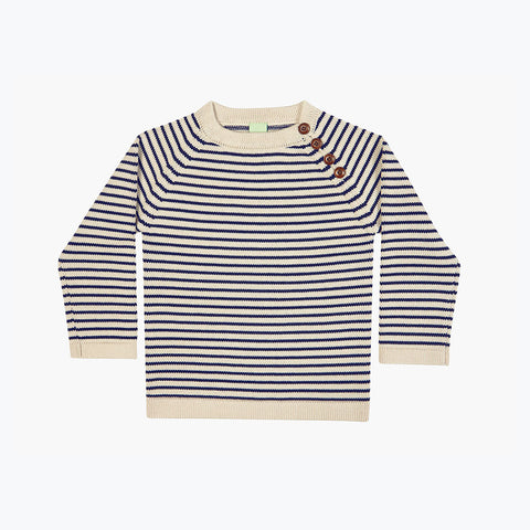 Thick Kids Sweater - Ecru/Navy - 7-8y